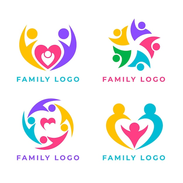 Concept De Collection De Logo Familial Vecteur Premium