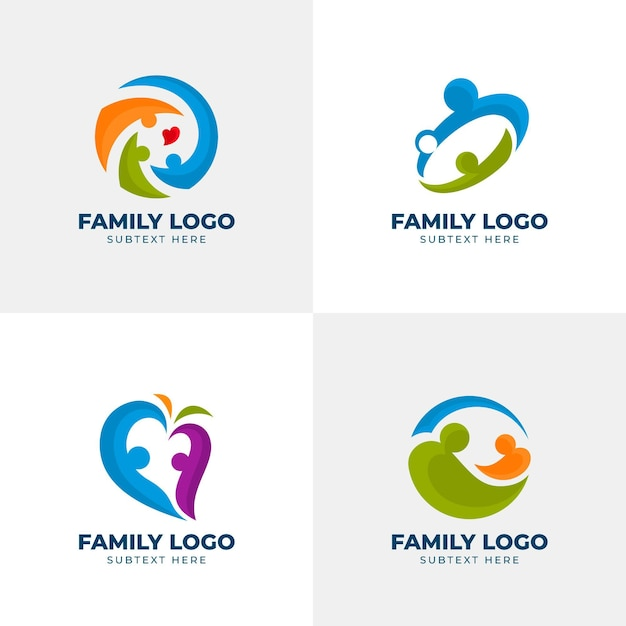 Concept De Collection De Logo Familial Vecteur gratuit