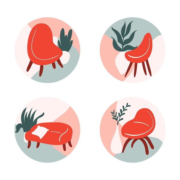 Concept De Collection De Logo De Meubles Vecteur gratuit