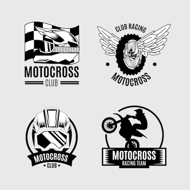Concept De Collection De Logo De Motocross Vecteur Premium