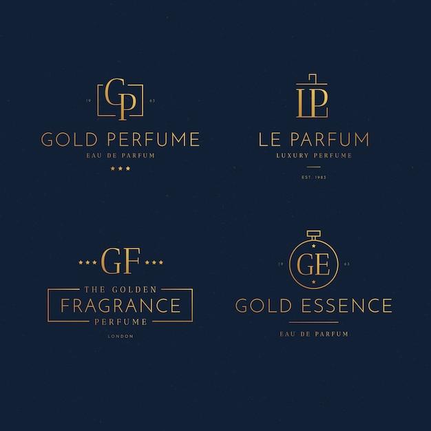 Concept De Collection De Logo De Parfum De Luxe Vecteur gratuit