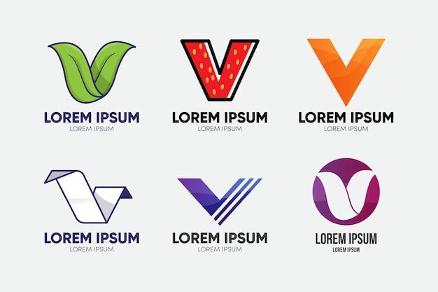Concept De Collection De Logo V Vecteur Premium
