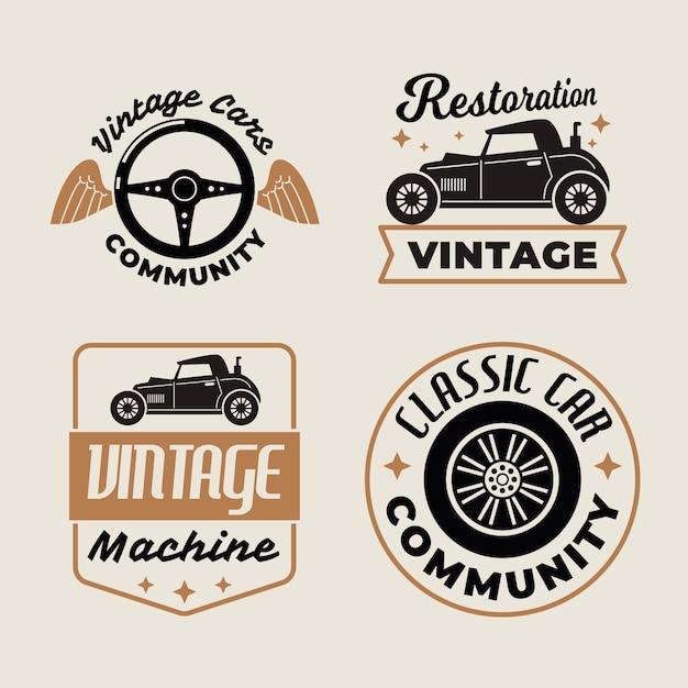 Concept De Collection De Logo De Voitures Anciennes Vecteur Premium