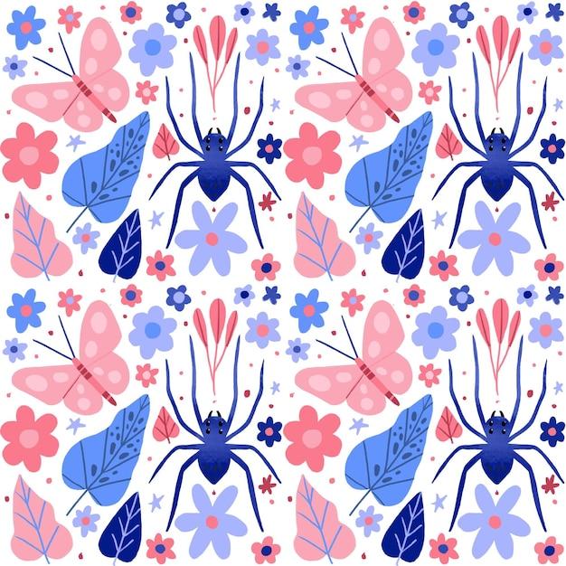 Concept De Collection De Motifs Insectes Et Fleurs Vecteur gratuit