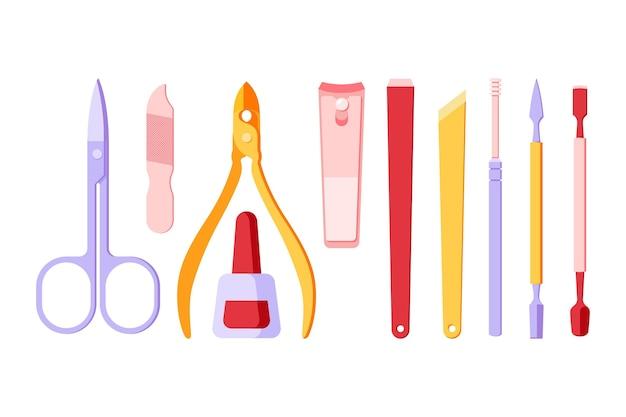 Concept De Collection D'outils De Manucure Vecteur gratuit