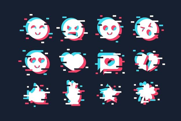 Concept De Collections D'emojis Glitch Vecteur gratuit