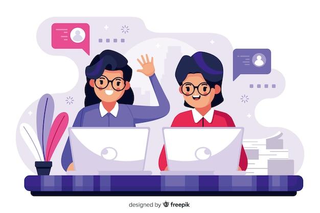 Concept De Collègues Pour Le Modèle De Page De Destination Vecteur gratuit