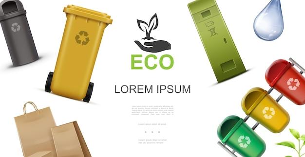 Concept Coloré D'écologie Réaliste Avec Des Contenants En Plastique Pour Le Recyclage De La Goutte D'eau Des Ordures Et Des Sacs En Papier Illustration Vecteur gratuit