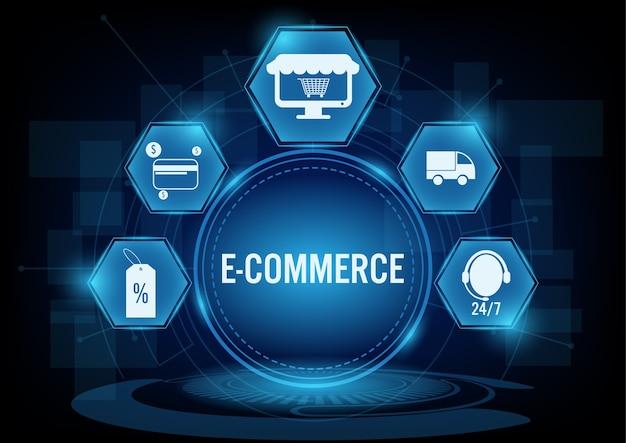Concept de commerce électronique avec l'icône de la ligne Vecteur Premium