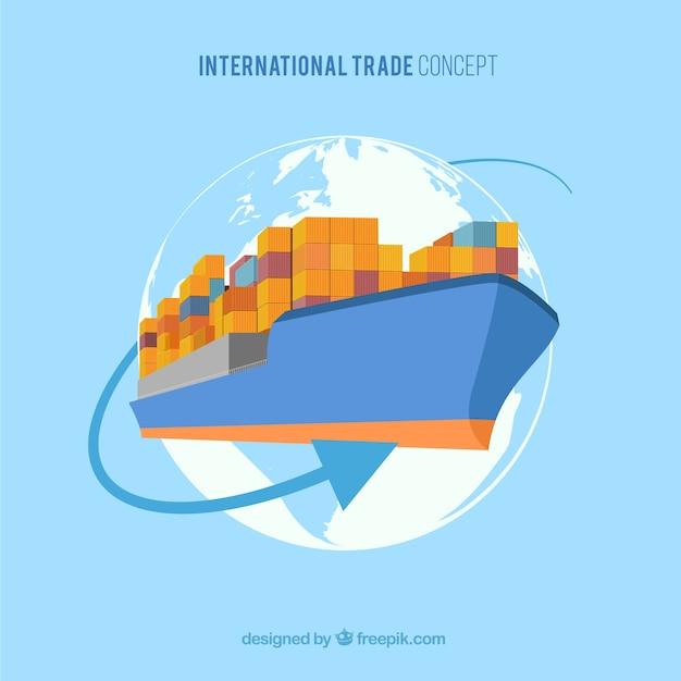 Concept de commerce international avec un design plat Vecteur gratuit