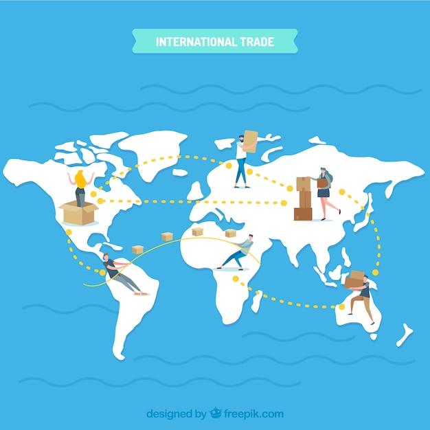Concept de commerce international moderne avec un design plat Vecteur gratuit