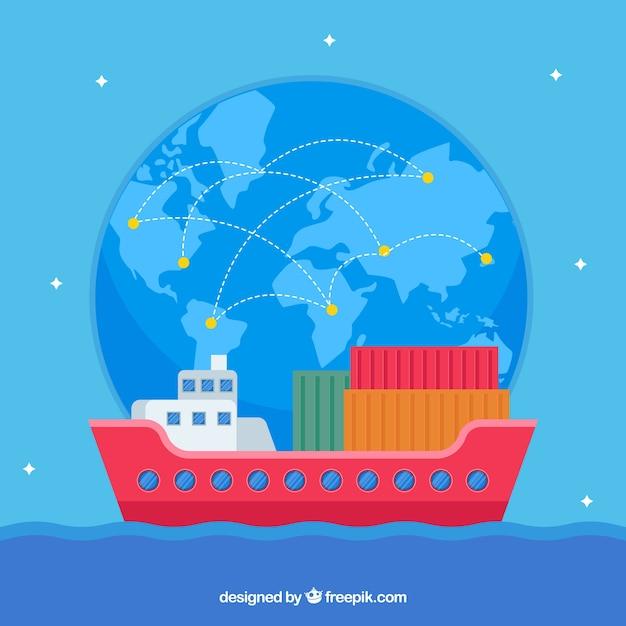 Concept de commerce international moderne Vecteur gratuit