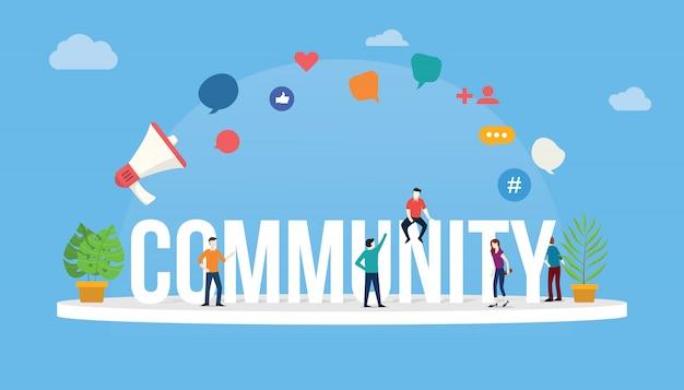 Concept communautaire Vecteur Premium