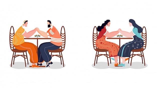 Concept de communauté lgbtq. couples gais et lesbiennes assis ensemble Vecteur Premium
