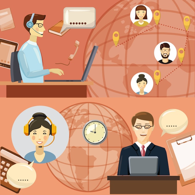 Concept de communication de centre d'appels. illustration de bande dessinée du concept de vecteur de communication de centre d'appels pour le web Vecteur Premium