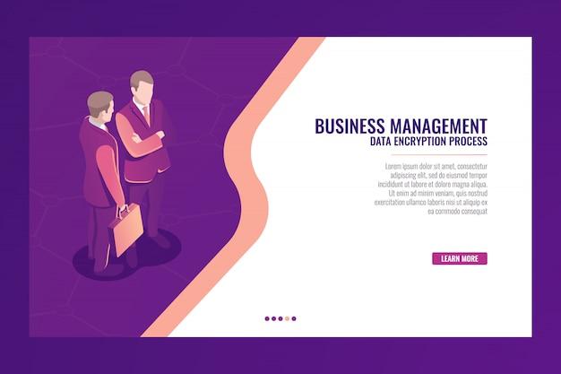Concept de communication de gestion d'entreprise, bannière de modèle de page web, homme d'affaires avec valise isome Vecteur gratuit