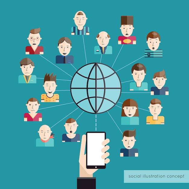 Concept de communication sociale Vecteur gratuit