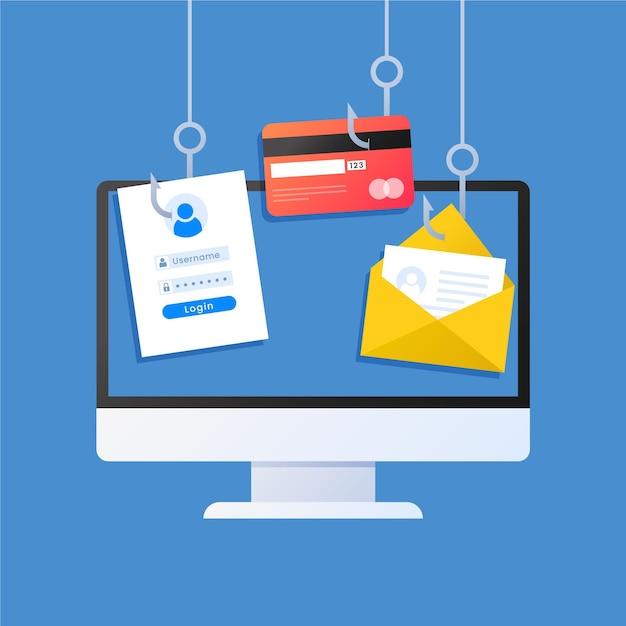 Concept De Compte De Phishing Vecteur Premium