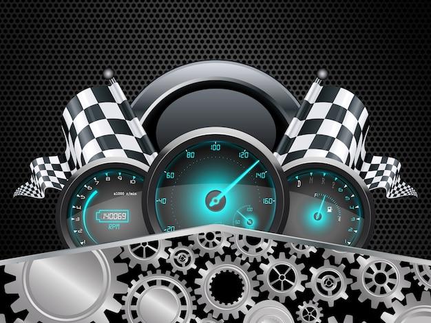 Concept de compteur de voiture de course Vecteur Premium