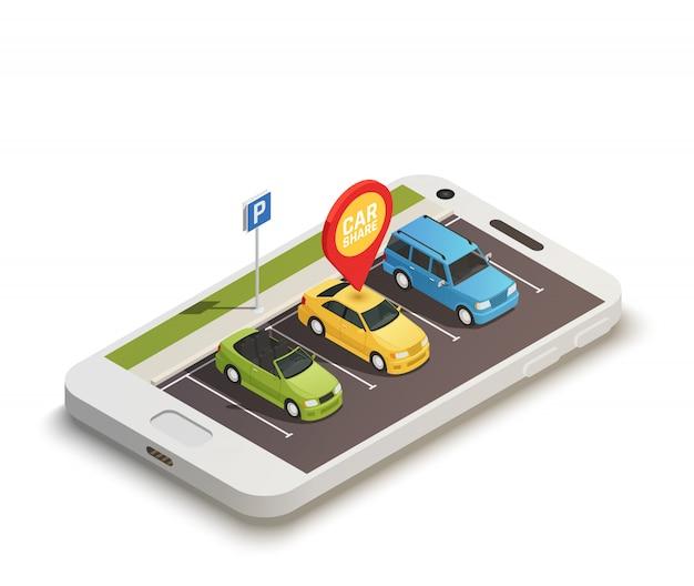 Concept de conception abstraite de partage de voiture Vecteur gratuit