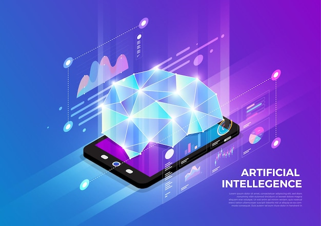 Concept De Conception D'illustrations Isométriques Solution De Technologie Mobile Sur Le Dessus Vecteur Premium