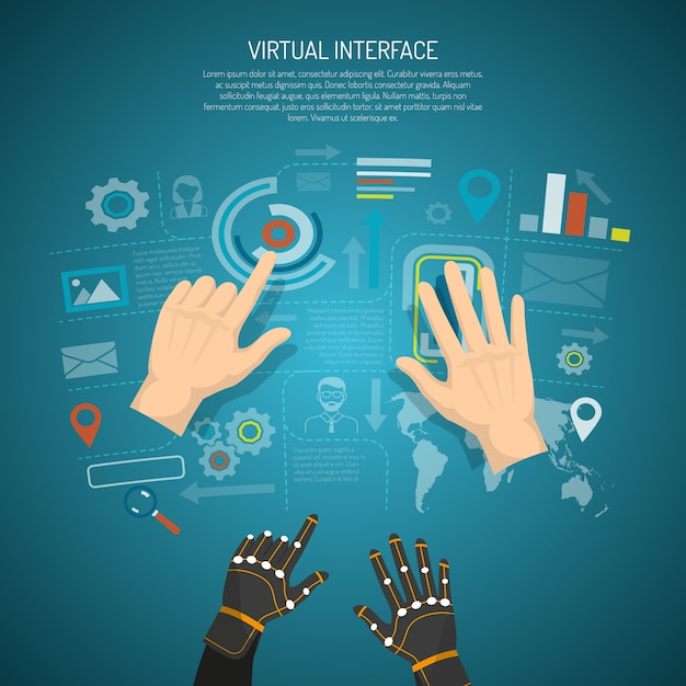 Concept de conception d'interface virtuelle Vecteur gratuit