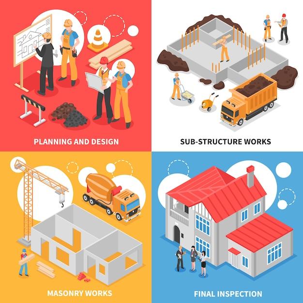 Concept de conception isométrique de bâtiment Vecteur gratuit