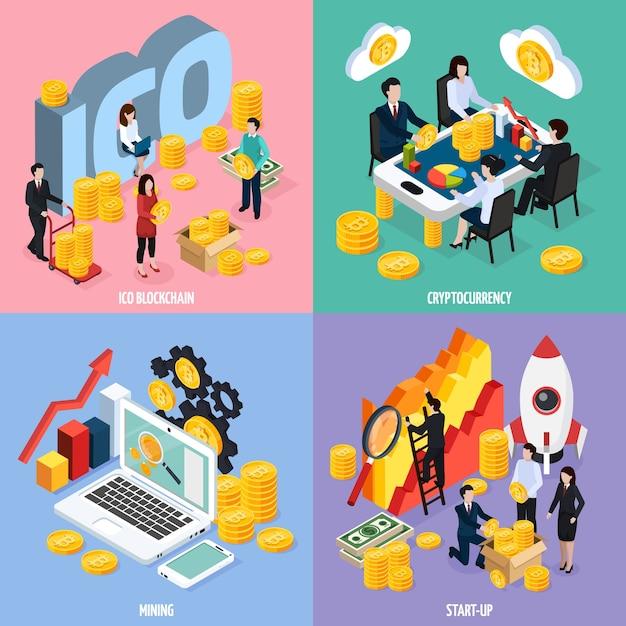 Concept De Conception Isométrique De Blockchain Ico Avec Travail D'équipe, Extraction De Crypto-monnaie, Recherche Marketing Et Démarrage Isolé Vecteur gratuit