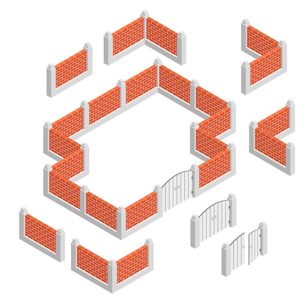 Concept de conception isométrique de clôtures Vecteur gratuit