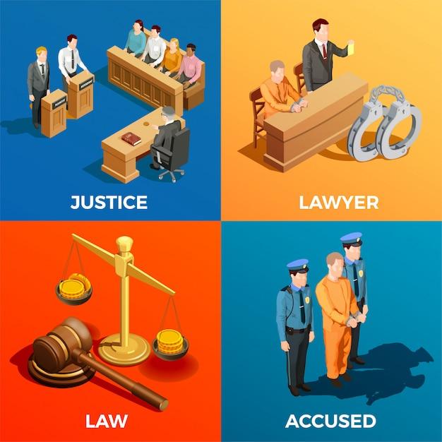 Concept de conception isométrique de la justice Vecteur gratuit