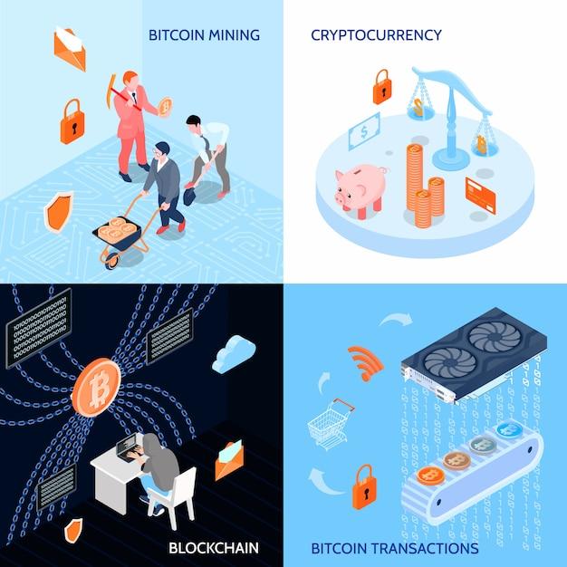 Concept de conception isométrique de la monnaie cryptée Vecteur gratuit