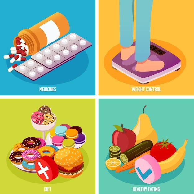 Concept de conception isométrique pour le contrôle du diabète Vecteur gratuit