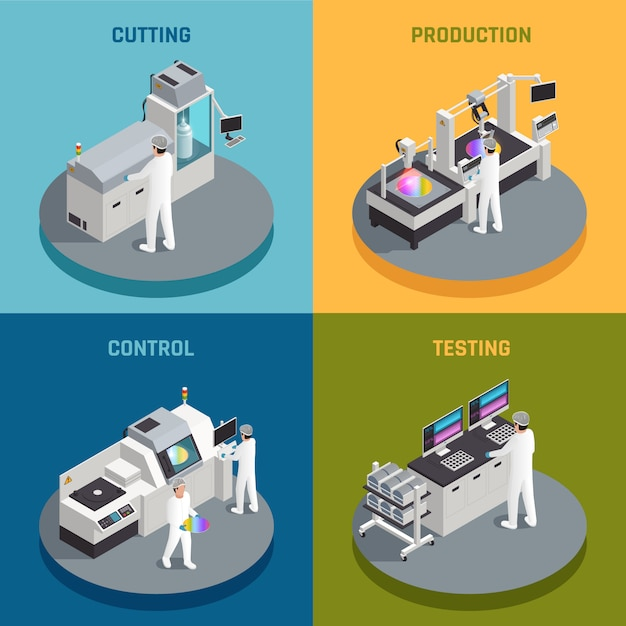 Concept De Conception Isométrique De Production De Puces Semi-conductrices Avec Des Images Représentant Différentes étapes De La Fabrication De Puces De Silicium Illustration Vectorielle Vecteur gratuit