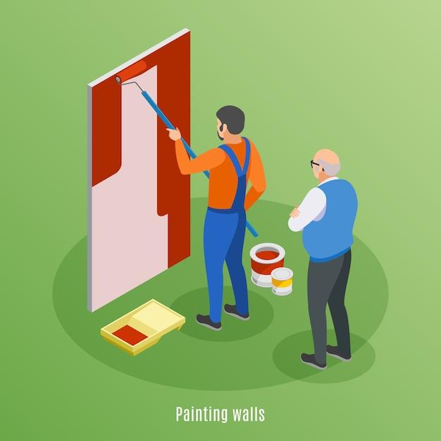 Concept De Conception Isométrique De Réparation à Domicile Avec Un Artisan Peignant Un Mur Et Une Illustration De Travail De Supervision D'un Client âgé Vecteur gratuit
