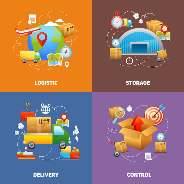 Concept de conception logistique Vecteur gratuit