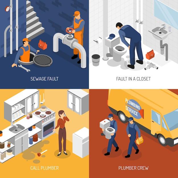 Concept de conception de service de plomberie Vecteur gratuit