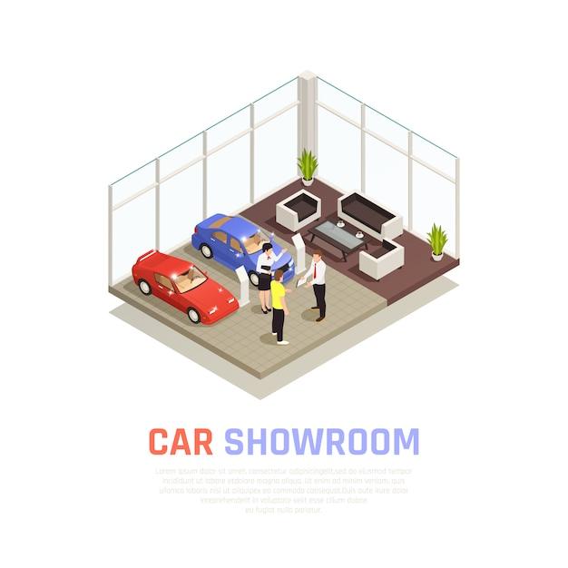Concept De Concessionnaire Automobile Avec Symboles D'achat De Voiture Isométrique Vecteur gratuit