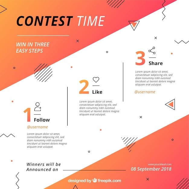 Concept de concours de médias sociaux Vecteur gratuit