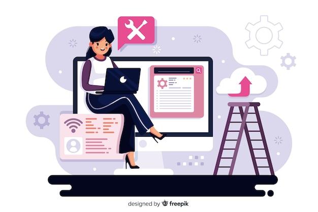 Concept De Configuration De Site Web Pour La Page De Destination Vecteur gratuit