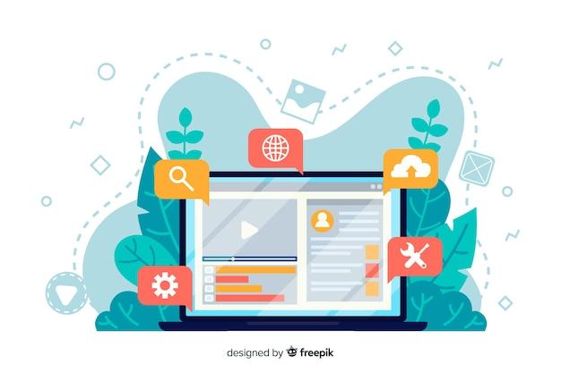 Concept De Configuration De Site Web Pour La Page De Destination Vecteur Premium