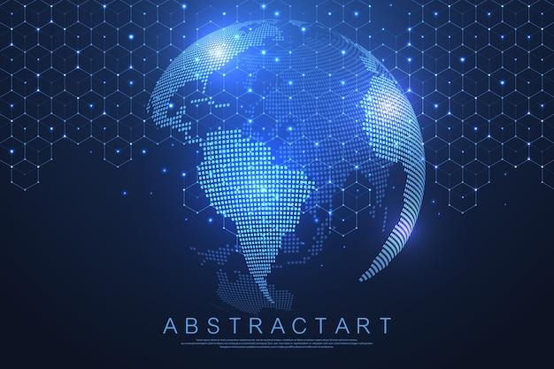 Concept De Connexion Réseau Mondial. Visualisation De Big Data. Vecteur Premium
