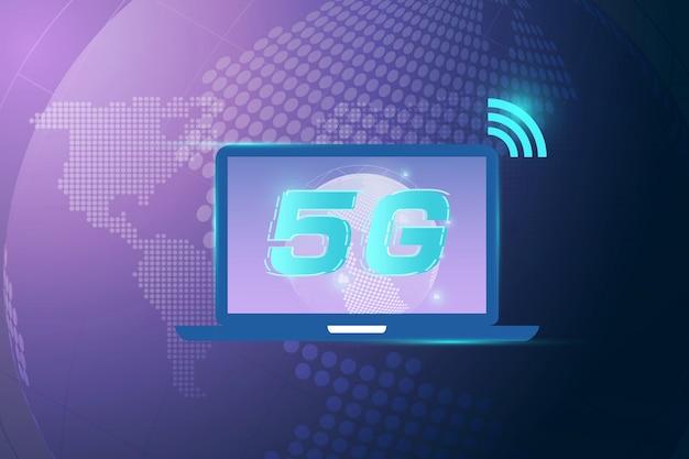 Concept De Connexion Wifi Internet Sans Fil 5g. Technologie De Données D'innovation De Réseau Mondial Haute Vitesse, Illustration Vectorielle Vecteur Premium