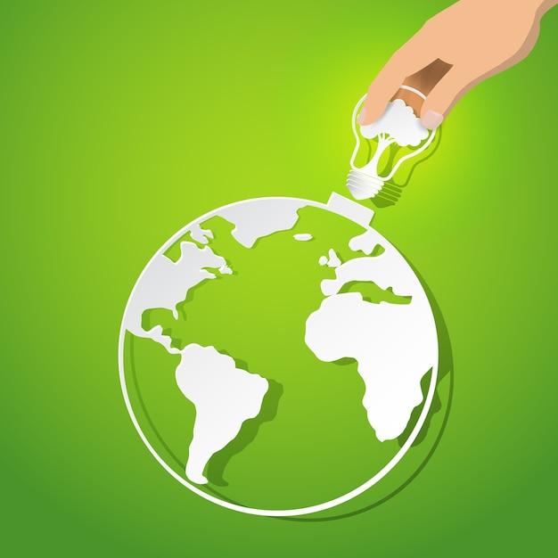 Concept de conservation de la nature et de l'énergie écologique. Vecteur Premium