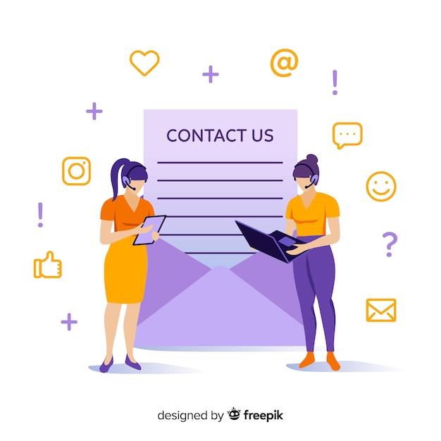 Concept de contact pour la page de destination Vecteur gratuit