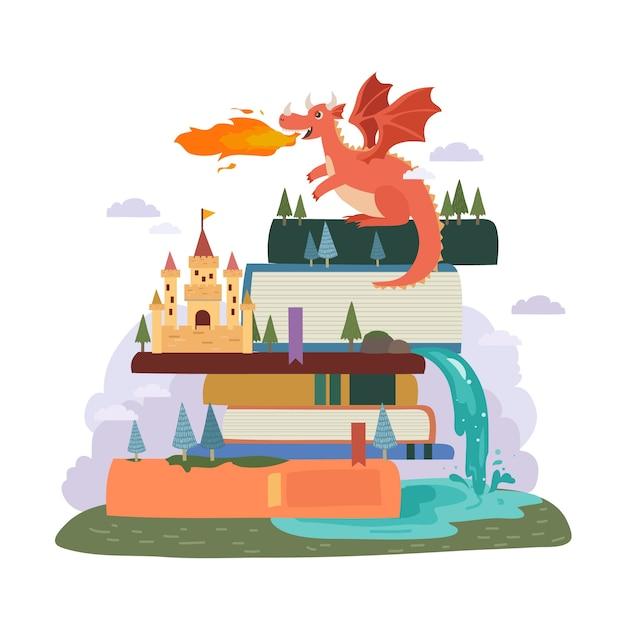 Concept De Conte De Fées Avec Dragon Et Château Vecteur gratuit
