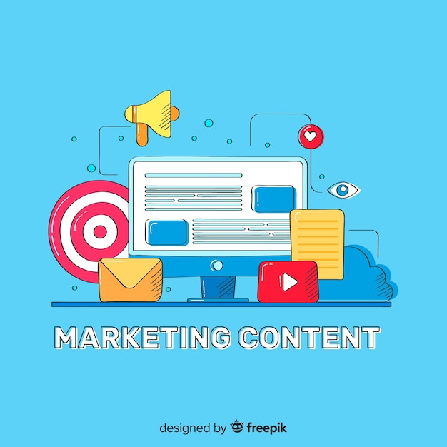 Concept de contenu marketing Vecteur gratuit