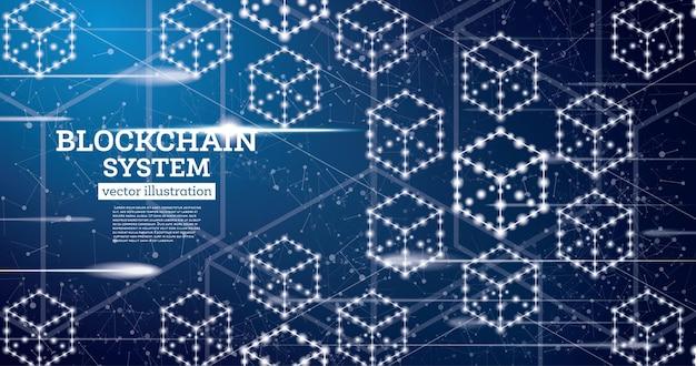 Concept De Contour Néon Blockchain Sur Fond Bleu Vecteur Premium