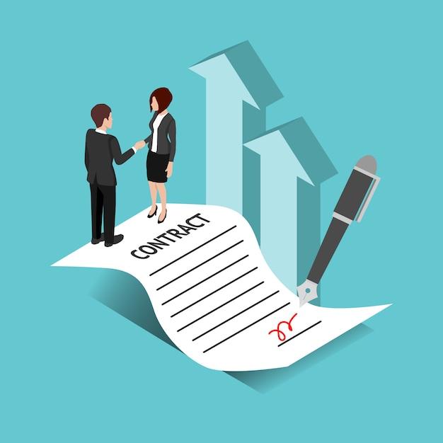 Concept de contrat et d'accord Vecteur Premium