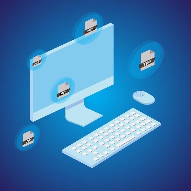 Concept de conversion de fichier avec l'ordinateur. style isométrique. vecteur. Vecteur Premium