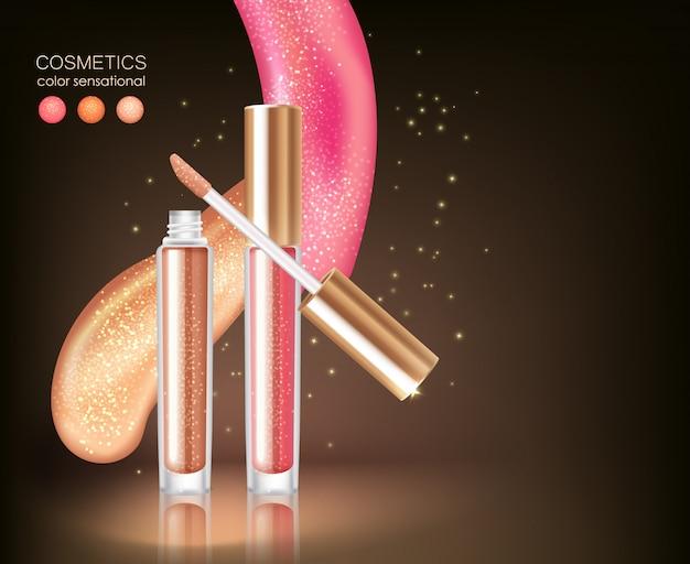 Concept cosmétique de rouge à lèvres brillant Vecteur gratuit
